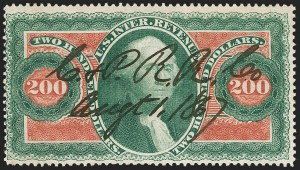 Sale Number 1209, Lot Number 1576, Revenues: First Issue Perforated$200.00 U.S.I.R., Perforated (R102c), $200.00 U.S.I.R., Perforated (R102c)