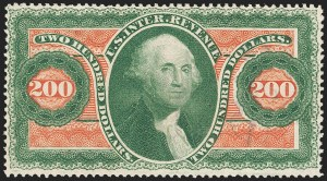 Sale Number 1209, Lot Number 1577, Revenues: First Issue Perforated$200.00 U.S.I.R., Perforated (R102c), $200.00 U.S.I.R., Perforated (R102c)