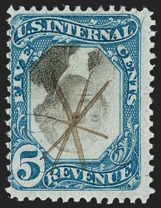 Sale Number 1209, Lot Number 1579, Revenues: Second Issue5c Blue & Black, Second Issue, Center Inverted (R107a), 5c Blue & Black, Second Issue, Center Inverted (R107a)
