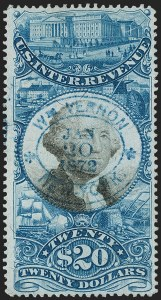 Sale Number 1209, Lot Number 1585, Revenues: Second Issue$20.00 Blue & Black, Second Issue (R129), $20.00 Blue & Black, Second Issue (R129)