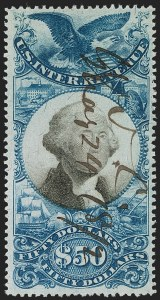 Sale Number 1209, Lot Number 1590, Revenues: Second Issue$50.00 Blue & Black, Second Issue (R131), $50.00 Blue & Black, Second Issue (R131)