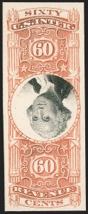 Sale Number 1209, Lot Number 1598, Revenues: Third Issue thru Documentary60c Orange & Black, Third Issue, Plate Proof on Card, Center Inverted, Foreign Entry of 70c (R142aP4 var), 60c Orange & Black, Third Issue, Plate Proof on Card, Center Inverted, Foreign Entry of 70c (R142aP4 var)