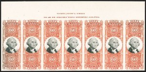 Sale Number 1209, Lot Number 1599, Revenues: Third Issue thru Documentary60c Orange & Black, Third Issue, Plate Proof on Card (R142P4), 60c Orange & Black, Third Issue, Plate Proof on Card (R142P4)