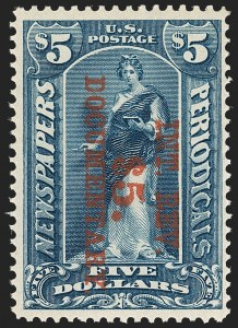Sale Number 1209, Lot Number 1601, Revenues: Third Issue thru Documentary$5.00 Dark Blue, Surcharge Reading Down (R159), $5.00 Dark Blue, Surcharge Reading Down (R159)