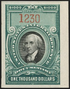 Sale Number 1209, Lot Number 1603, Revenues: Third Issue thru Documentary$1,000.00 Green & Black (R181), $1,000.00 Green & Black (R181)