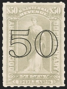 Sale Number 1209, Lot Number 1604, Revenues: Third Issue thru Documentary$50.00 Gray, Open Numeral Surcharge (R189), $50.00 Gray, Open Numeral Surcharge (R189)