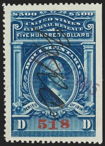 Sale Number 1209, Lot Number 1605, Revenues: Third Issue thru Documentary$500.00 Blue, Series of 1914 (R226), $500.00 Blue, Series of 1914 (R226)