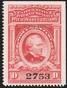 "Sale Number 1209, Lot Number 1607, Revenues: Third Issue thru Documentary$500.00 Carmine, ""Series 1941"" Ovpt. (R334), $500.00 Carmine, ""Series 1941"" Ovpt. (R334)"