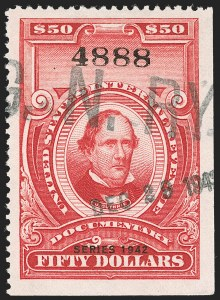 "Sale Number 1209, Lot Number 1608, Revenues: Third Issue thru Documentary$50.00 Carmine, ""Series 1942"" Ovpt. (R356), $50.00 Carmine, ""Series 1942"" Ovpt. (R356)"