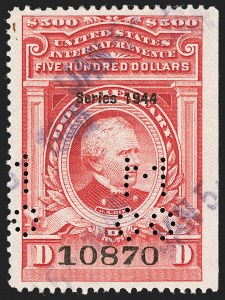 "Sale Number 1209, Lot Number 1609, Revenues: Third Issue thru Documentary$500.00 Carmine, ""Series of 1944"" Ovpt. (R409), $500.00 Carmine, ""Series of 1944"" Ovpt. (R409)"