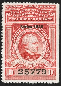 "Sale Number 1209, Lot Number 1610, Revenues: Third Issue thru Documentary$500.00 Carmine, ""Series 1948"" Ovpt. (R509), $500.00 Carmine, ""Series 1948"" Ovpt. (R509)"