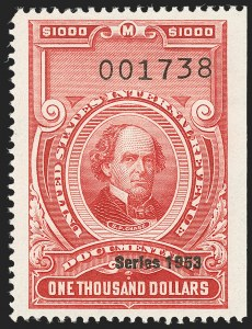 "Sale Number 1209, Lot Number 1613, Revenues: Third Issue thru Documentary$1,000.00 Carmine, ""Series 1953"" Ovpt. (R650), $1,000.00 Carmine, ""Series 1953"" Ovpt. (R650)"