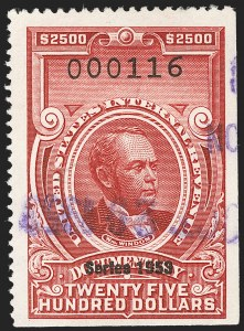 "Sale Number 1209, Lot Number 1614, Revenues: Third Issue thru Documentary$2,500.00 Carmine, ""Series 1953"" Ovpt. (R651), $2,500.00 Carmine, ""Series 1953"" Ovpt. (R651)"
