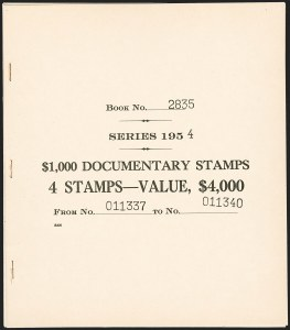"Sale Number 1209, Lot Number 1616, Revenues: Third Issue thru Documentary$1,000.00 Carmine ""Series 1954"" Ovpt., Booklet Pane of Four (R684a), $1,000.00 Carmine ""Series 1954"" Ovpt., Booklet Pane of Four (R684a)"