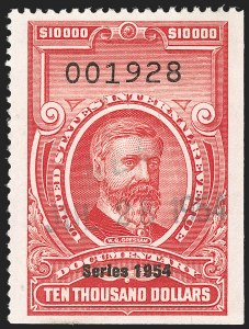"Sale Number 1209, Lot Number 1617, Revenues: Third Issue thru Documentary$10,000.00 Carmine, ""Series 1954"" Ovpt. (R687), $10,000.00 Carmine, ""Series 1954"" Ovpt. (R687)"