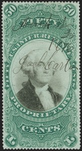 Sale Number 1209, Lot Number 1620, Revenues: Proprietary50c Green & Black on Violet Paper, Proprietary (RB8a), 50c Green & Black on Violet Paper, Proprietary (RB8a)