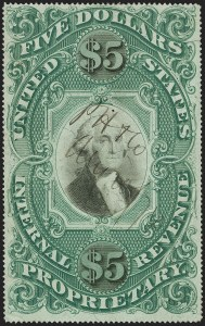Sale Number 1209, Lot Number 1622, Revenues: Proprietary$5.00 Green & Black on Violet Paper, Proprietary (RB10a), $5.00 Green & Black on Violet Paper, Proprietary (RB10a)