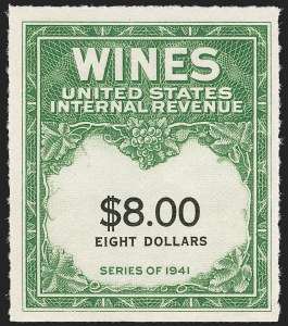 Sale Number 1209, Lot Number 1632, Revenues: Wines and Playing Cards$8.00 Green & Black, Denomination Spelled in One Line, Wine (RE179), $8.00 Green & Black, Denomination Spelled in One Line, Wine (RE179)