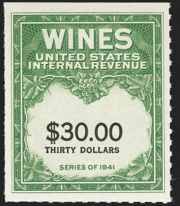 Sale Number 1209, Lot Number 1633, Revenues: Wines and Playing Cards$30.00 Yellow Green & Black, Denomination Spelled in One Line, Wine (RE182), $30.00 Yellow Green & Black, Denomination Spelled in One Line, Wine (RE182)