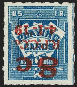 Sale Number 1209, Lot Number 1634, Revenues: Wines and Playing Cards8c on 2c Blue, Playing Card, Surcharge Inverted (RF15), 8c on 2c Blue, Playing Card, Surcharge Inverted (RF15)