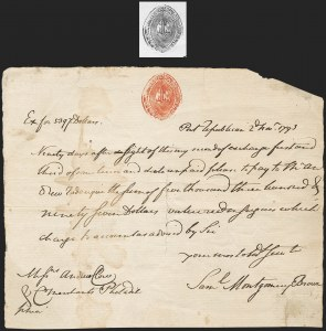 Sale Number 1210, Lot Number 2105, State Revenue Issues: Delaware, Virginia, Maryland5c Delaware (RM291; SRS DS3), 5c Delaware (RM291; SRS DS3)