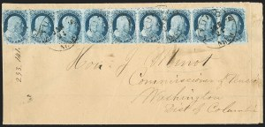 Sale Number 1211, Lot Number 178, 1851 1¢ Blue—Plate 1 Late,