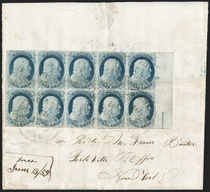 Sale Number 1211, Lot Number 182, 1851 1¢ Blue—Plate 1 Late,