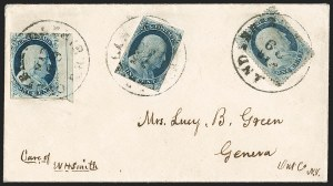Sale Number 1211, Lot Number 184, 1851 1¢ Blue—Plate 1 Late,