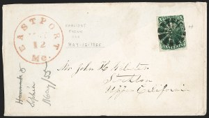 Sale Number 1211, Lot Number 254, 1855 10¢ Green—Types II and III,