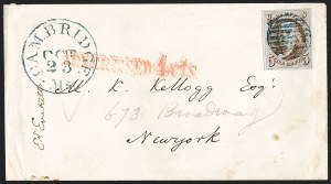 "Sale Number 1211, Lot Number 66, 1847 Issue—Advertised and Forwarded Markings5¢ 1847 on a cover from Edward Everett with New York City ""ADVERTISED 4 cts, 5¢ 1847 on a cover from Edward Everett with New York City ""ADVERTISED 4 cts"