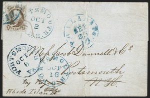 Sale Number 1211, Lot Number 68, 1847 Issue—Advertised and Forwarded MarkingsA remarkable 5¢ 1847 cover which traveled to four different U.S, A remarkable 5¢ 1847 cover which traveled to four different U.S
