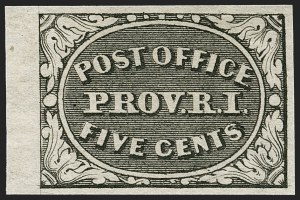 Sale Number 1212, Lot Number 1, Postmasters' Provisionals, 1847 IssueProvidence, Rhode Island, 5c Gray Black (10X1), Providence, Rhode Island, 5c Gray Black (10X1)