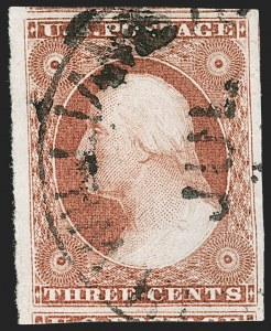 Sale Number 1212, Lot Number 10, 1851-60 Issues3c Claret, Ty. II (11A), 3c Claret, Ty. II (11A)