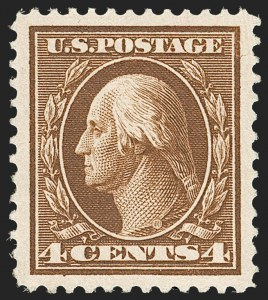 Sale Number 1212, Lot Number 101, 1910-13 Washington-Franklin Issues4c Brown (377), 4c Brown (377)