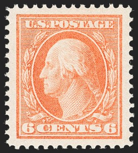 Sale Number 1212, Lot Number 102, 1910-13 Washington-Franklin Issues6c Red Orange (379), 6c Red Orange (379)