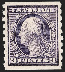 Sale Number 1212, Lot Number 104, 1910-13 Washington-Franklin Issues3c Deep Violet, Coil (394), 3c Deep Violet, Coil (394)