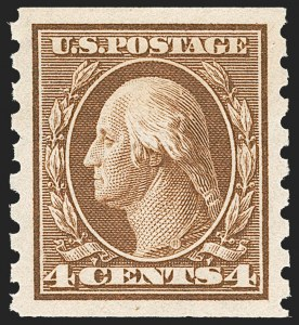 Sale Number 1212, Lot Number 105, 1910-13 Washington-Franklin Issues4c Brown, Coil (395), 4c Brown, Coil (395)