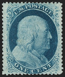 Sale Number 1212, Lot Number 13, 1851-60 Issues1c Blue, Ty. V (24). Mint N.H, 1c Blue, Ty. V (24). Mint N.H