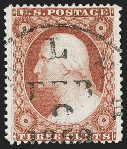 Sale Number 1212, Lot Number 16, 1851-60 Issues3c Brownish Carmine, Ty. IV, Double Transfer (26A var), 3c Brownish Carmine, Ty. IV, Double Transfer (26A var)