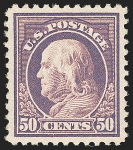 Sale Number 1212, Lot Number 174, 1917-19 Washington-Franklin Issues50c Red Violet (517), 50c Red Violet (517)