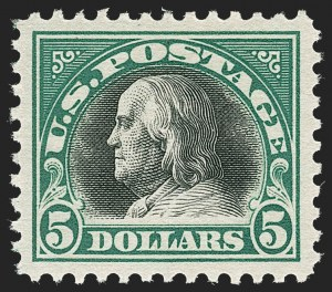 Sale Number 1212, Lot Number 176, 1917-19 Washington-Franklin Issues$5.00 Deep Green & Black (524), $5.00 Deep Green & Black (524)