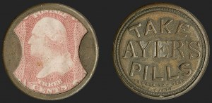 Sale Number 1212, Lot Number 19, 1861-88 IssuesTake Ayer's Pills, 3c Rose (EP9), Take Ayer's Pills, 3c Rose (EP9)