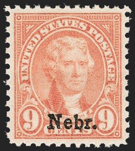 Sale Number 1212, Lot Number 247, 1927 and Later Issues9c Nebr. Ovpt. (678), 9c Nebr. Ovpt. (678)