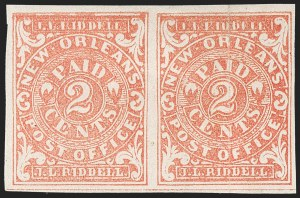 Sale Number 1212, Lot Number 370, Confederate StatesNew Orleans La., 2c Red (62X2), New Orleans La., 2c Red (62X2)