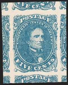 Sale Number 1212, Lot Number 371, Confederate StatesConfederate States, 5c Blue, Stone 2 (4). Mint N.H, Confederate States, 5c Blue, Stone 2 (4). Mint N.H