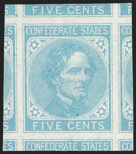 Sale Number 1212, Lot Number 373, Confederate States5c Light Blue, De La Rue (6), 5c Light Blue, De La Rue (6)