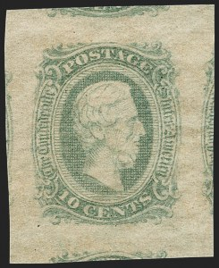 Sale Number 1212, Lot Number 378, Confederate States10c Green, Die A (11d), 10c Green, Die A (11d)