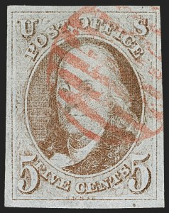 Sale Number 1212, Lot Number 4, Postmasters' Provisionals, 1847 Issue5c Red Brown (1), 5c Red Brown (1)