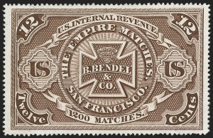 Sale Number 1212, Lot Number 409, Private Die Match Stamps: A thru GH. Bendel & Co., 12c Brown, Silk Paper (RO27b), H. Bendel & Co., 12c Brown, Silk Paper (RO27b)