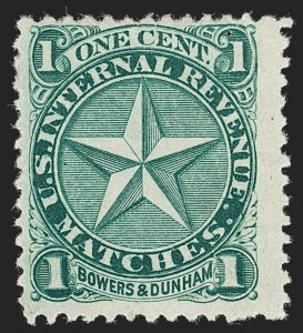 Sale Number 1212, Lot Number 412, Private Die Match Stamps: A thru GBowers & Dunham, 1c Green, Watermarked (RO39d), Bowers & Dunham, 1c Green, Watermarked (RO39d)